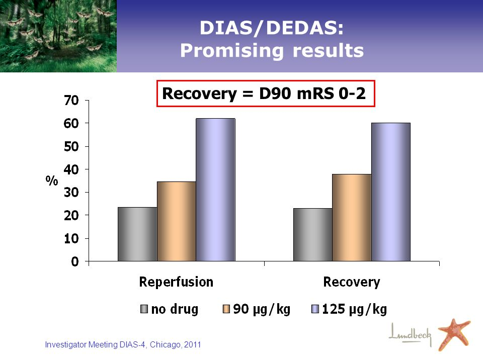 Investigator Meeting DIAS-4, Chicago, 2011 n= 8n= 8 29 11 27 18 2429 11 27 18 24 DIAS/DEDAS: Promising results Recovery = D90 mRS 0-2