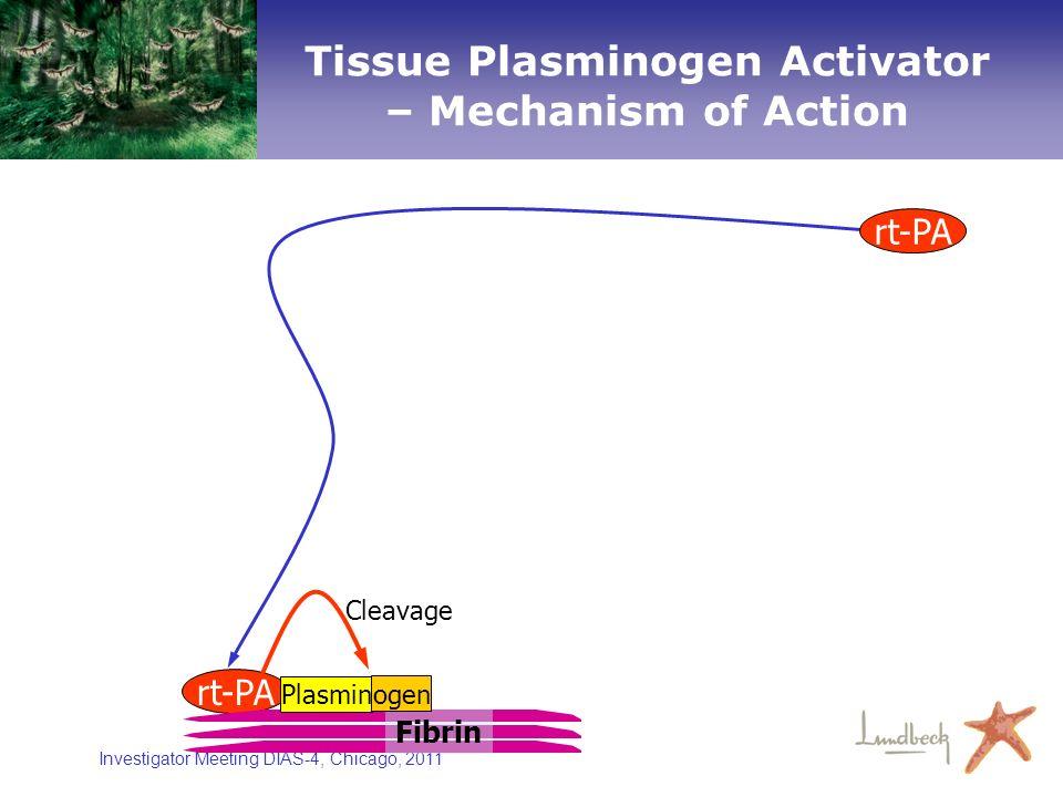 Investigator Meeting DIAS-4, Chicago, 2011 rt-PA Cleavage Fibrin Plasmin ogen rt-PA Tissue Plasminogen Activator – Mechanism of Action