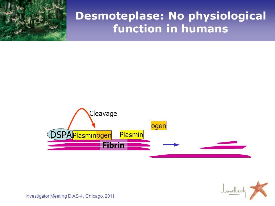 Investigator Meeting DIAS-4, Chicago, 2011 Fibrin ogen Plasmin DSPA Plasmin ogen Cleavage Desmoteplase: No physiological function in humans