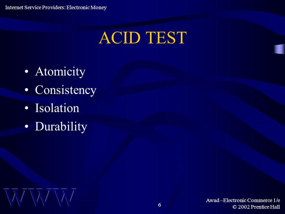 Awad –Electronic Commerce 1/e © 2002 Prentice Hall 7 ICES TEST Interoperability Conservation Economy Scalability Internet Service Providers: Electronic Money