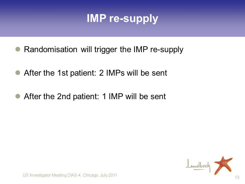 US Investigator Meeting DIAS-4, Chicago, July 2011 13 IMP re-supply Randomisation will trigger the IMP re-supply After the 1st patient: 2 IMPs will be