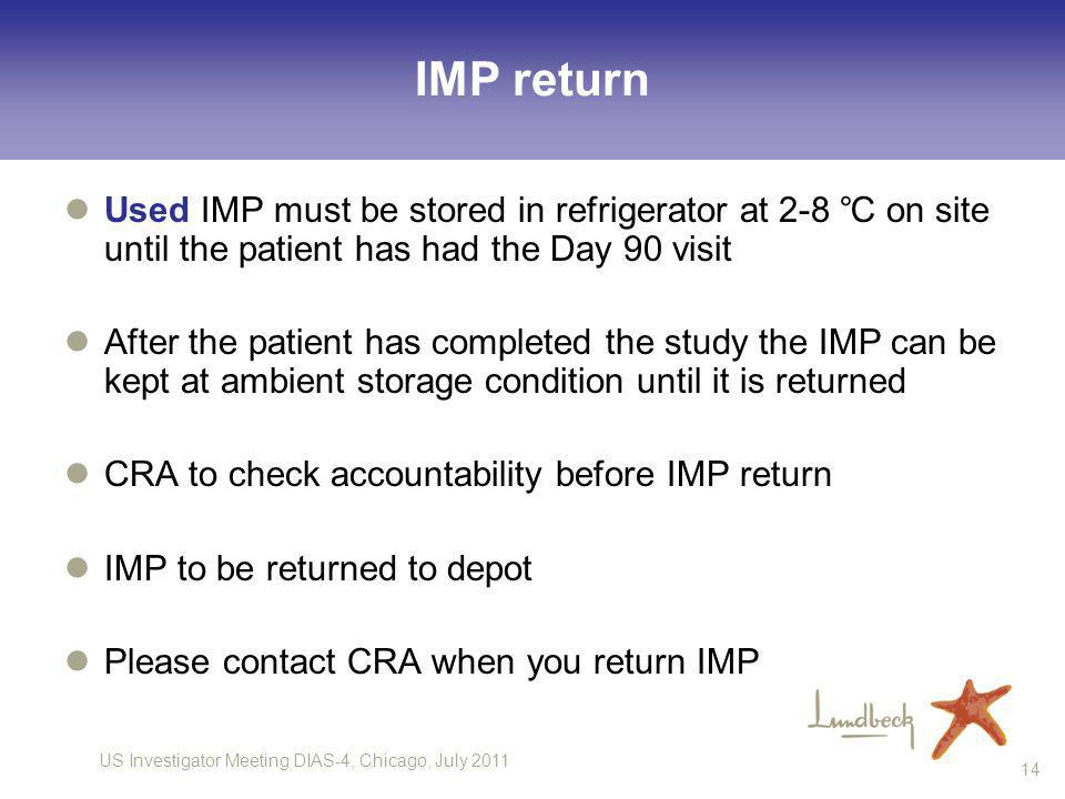 US Investigator Meeting DIAS-4, Chicago, July 2011 14 IMP return Used IMP must be stored in refrigerator at 2-8 on site until the patient has had the