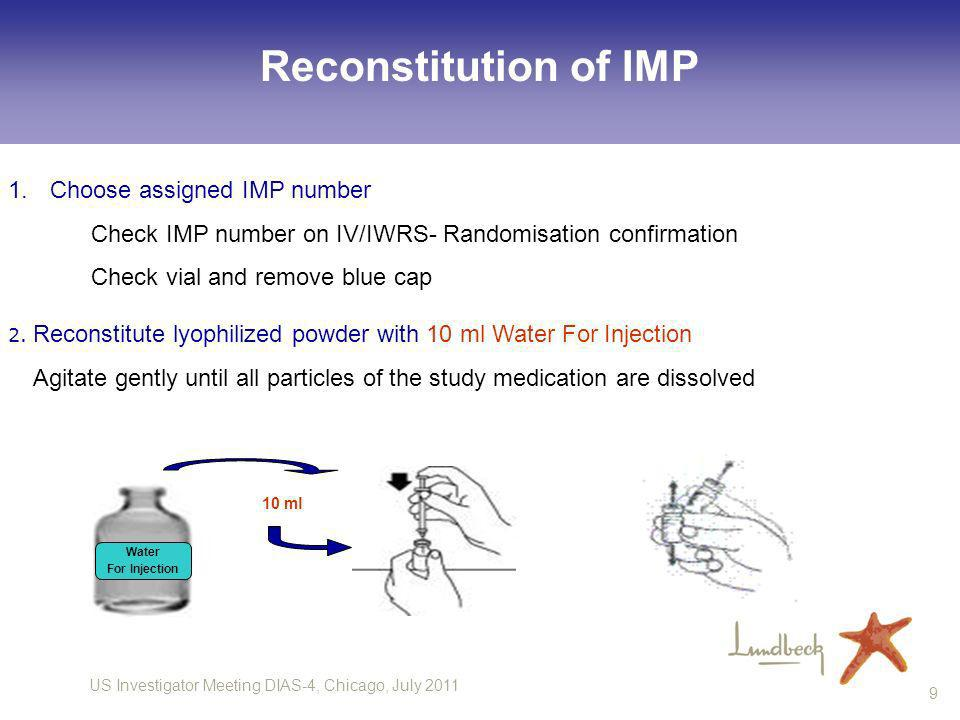 US Investigator Meeting DIAS-4, Chicago, July 2011 9 2. Reconstitute lyophilized powder with 10 ml Water For Injection Agitate gently until all partic