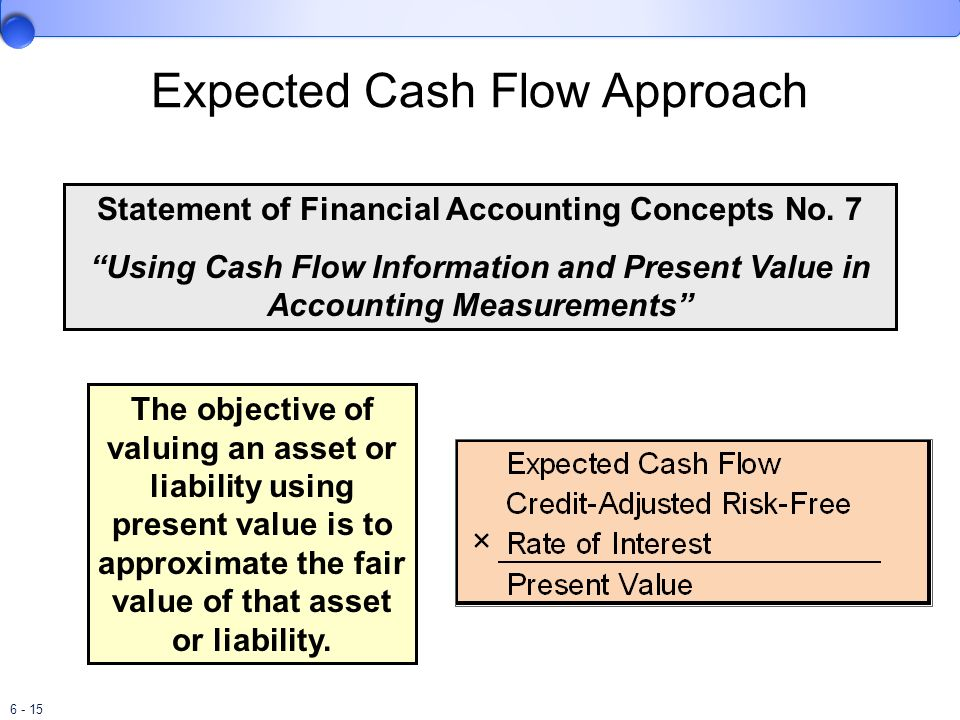 6 - 15 Statement of Financial Accounting Concepts No. 7 Using Cash Flow Information and Present Value in Accounting Measurements The objective of valu