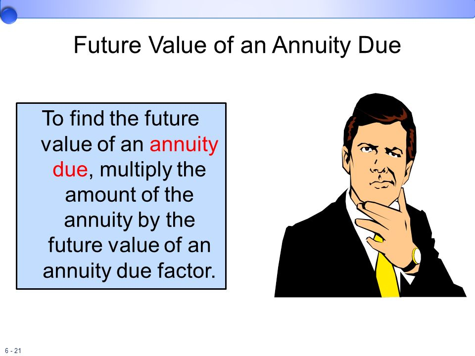 6 - 21 Future Value of an Annuity Due To find the future value of an annuity due, multiply the amount of the annuity by the future value of an annuity