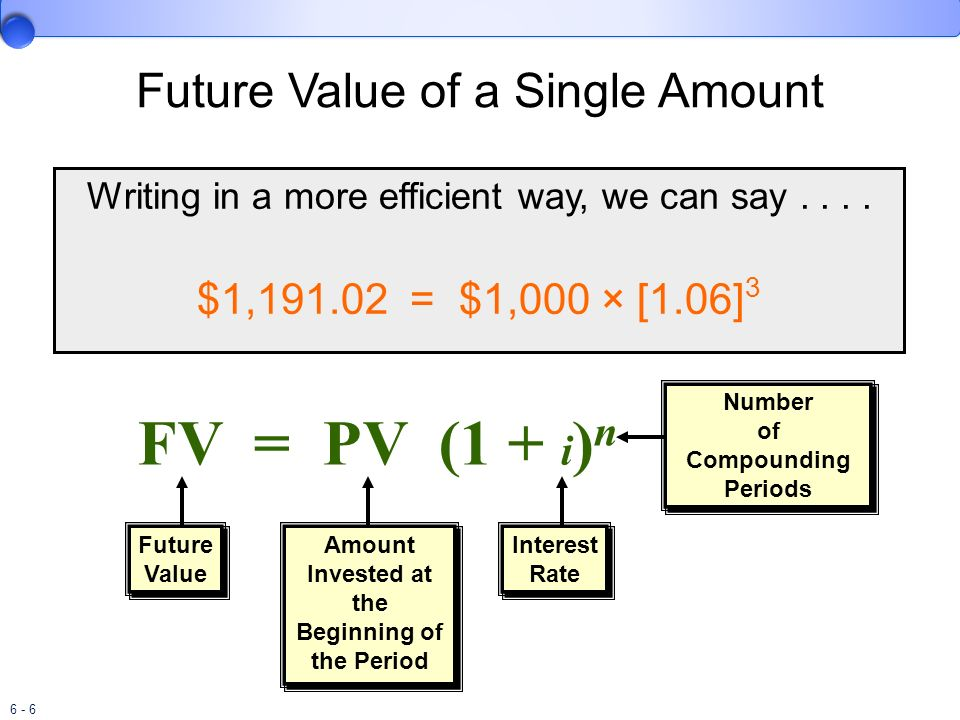 6 - 7 Using the Future Value of $1 Table, we find the factor for 6% and 3 periods is 1.19102.