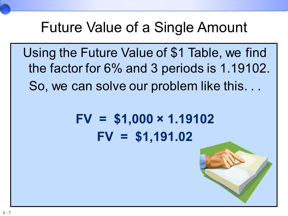 6 - 8 Present Value of a Single Amount Instead of asking what is the future value of a current amount, we might want to know what amount we must invest today to accumulate a known future amount.