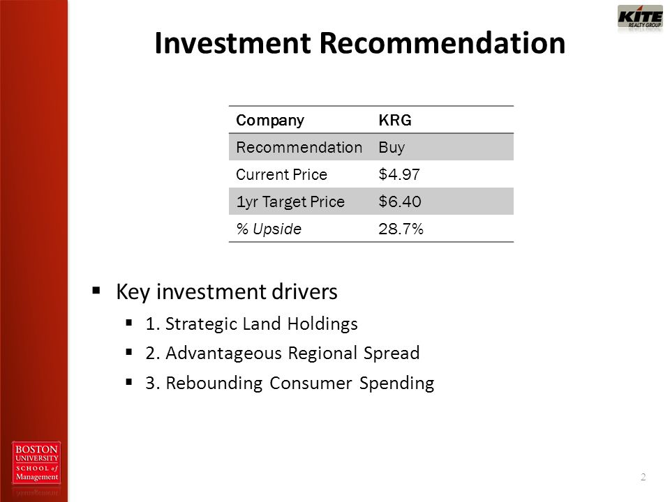Investment Recommendation 2 CompanyKRG RecommendationBuy Current Price$4.97 1yr Target Price$6.40 % Upside28.7% Key investment drivers 1. Strategic La
