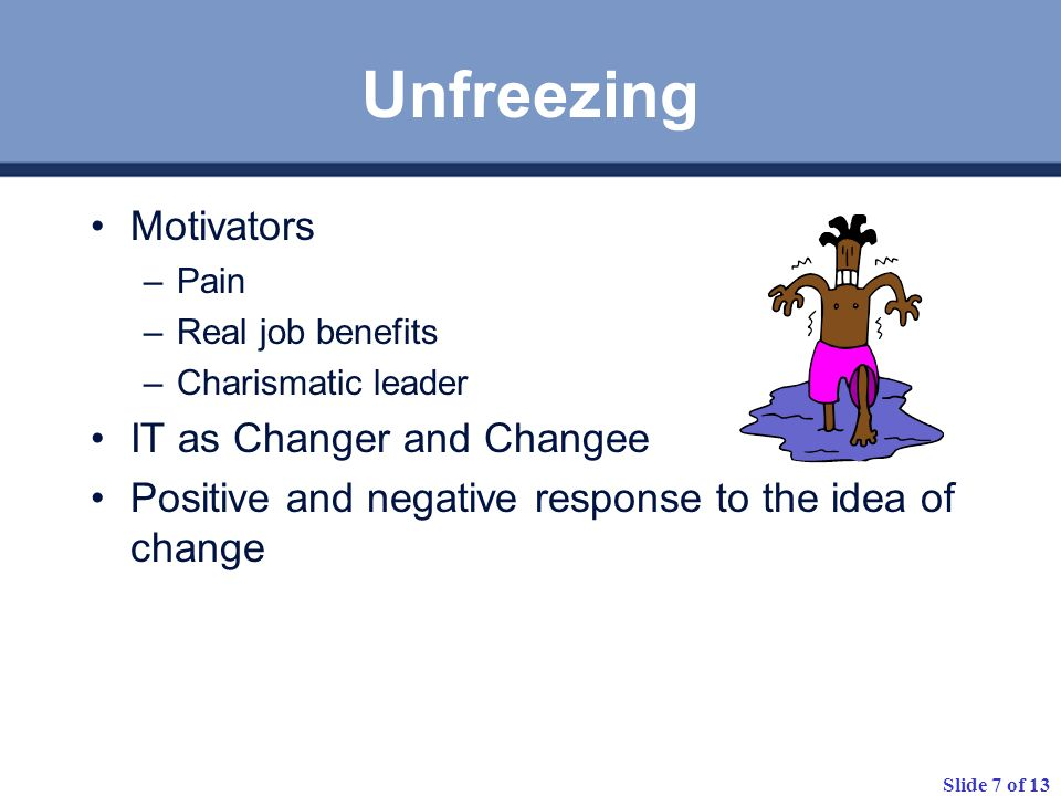 Slide 8 of 13 Organisational Change Process Create a Clear Tomorrow Develop a Migration Plan Reinforce The new behaviour Build a Sense of Urgency