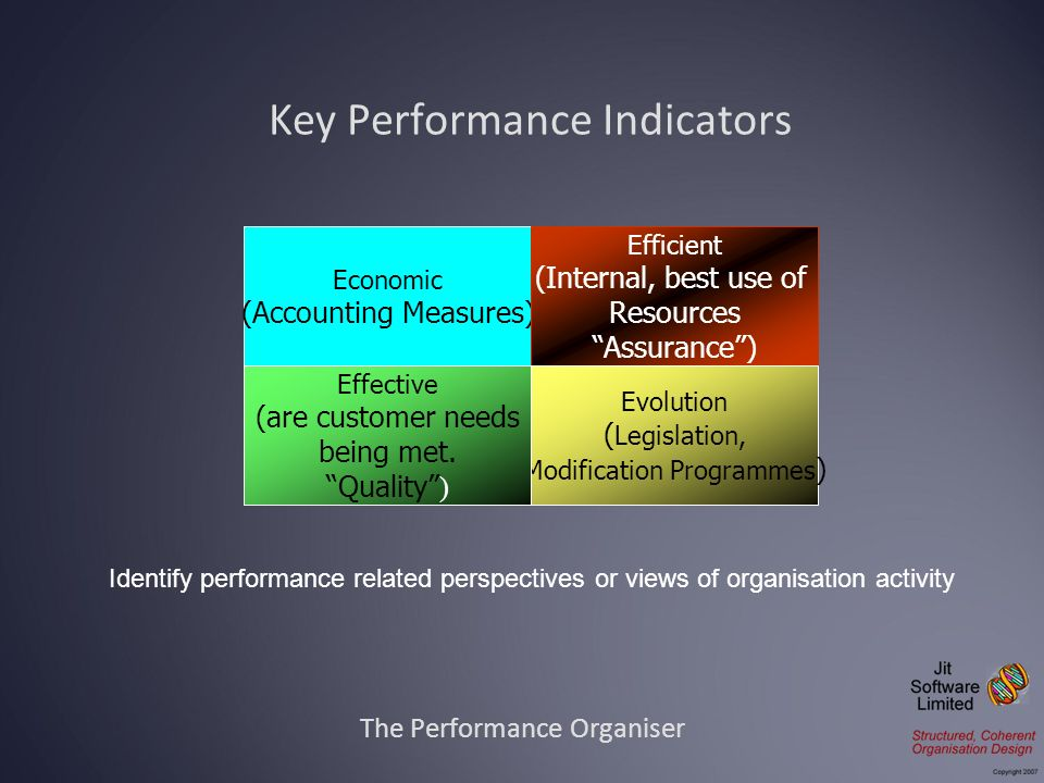 The Performance Organiser Key Performance Indicators Economic (Accounting Measures) Efficient (Internal, best use of Resources Assurance) Evolution (