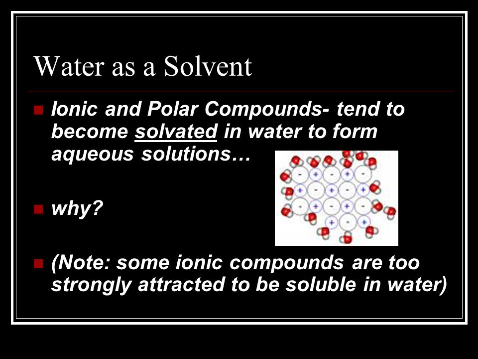 Water as a Solvent Ionic and Polar Compounds- tend to become solvated in water to form aqueous solutions… why.