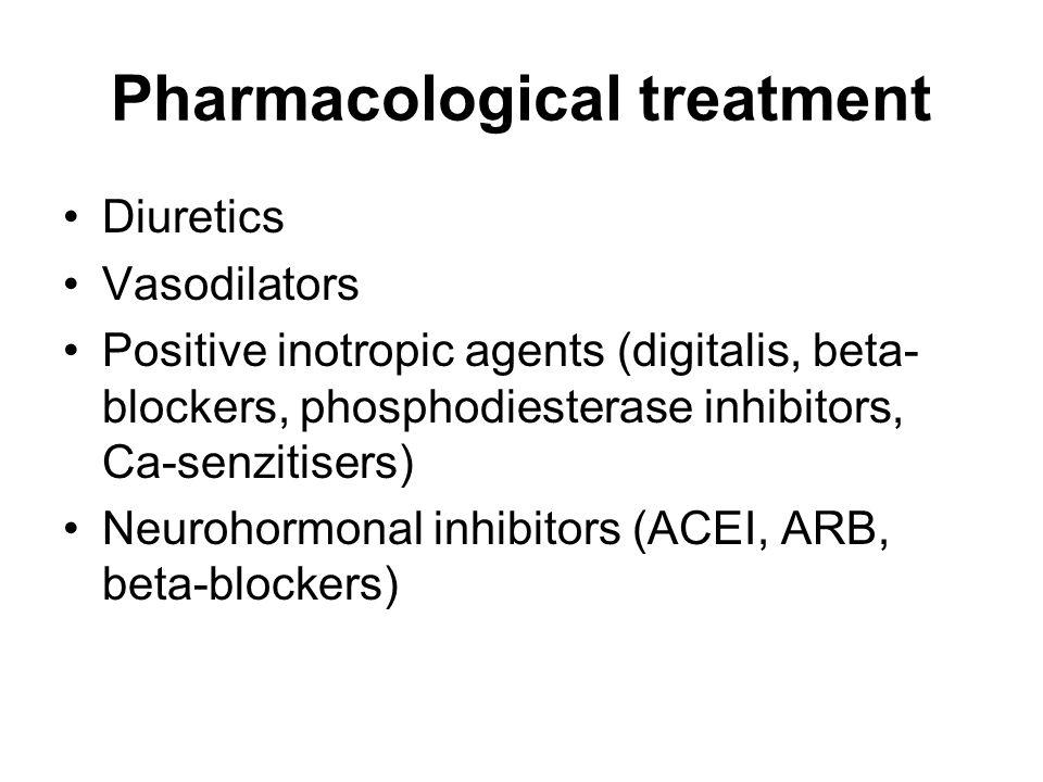 Pharmacological treatment Diuretics Vasodilators Positive inotropic agents (digitalis, beta- blockers, phosphodiesterase inhibitors, Ca-senzitisers) N