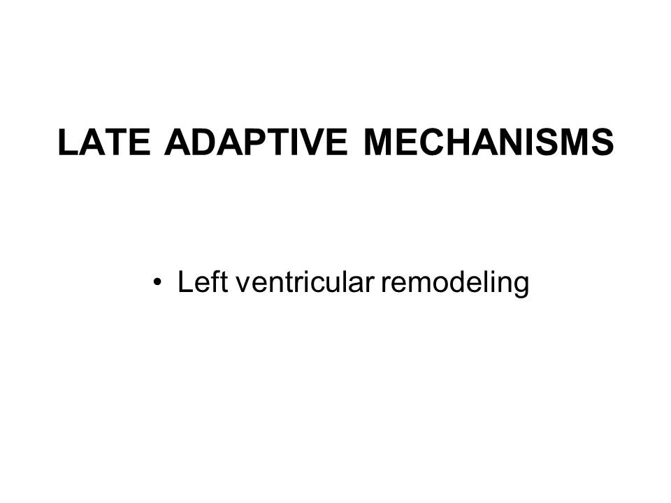 LATE ADAPTIVE MECHANISMS Left ventricular remodeling