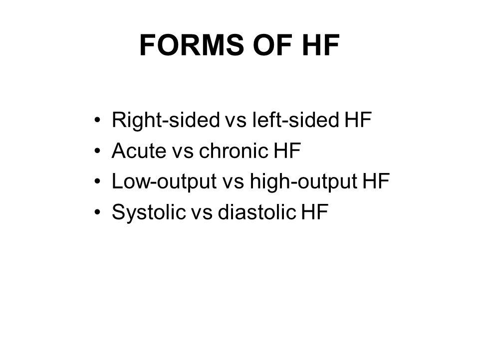 FORMS OF HF Right-sided vs left-sided HF Acute vs chronic HF Low-output vs high-output HF Systolic vs diastolic HF