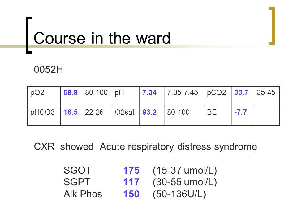 Course in the ward 0052H CXR showed Acute respiratory distress syndrome SGOT 175 (15-37 umol/L) SGPT 117 (30-55 umol/L) Alk Phos150 (50-136U/L) pO268.