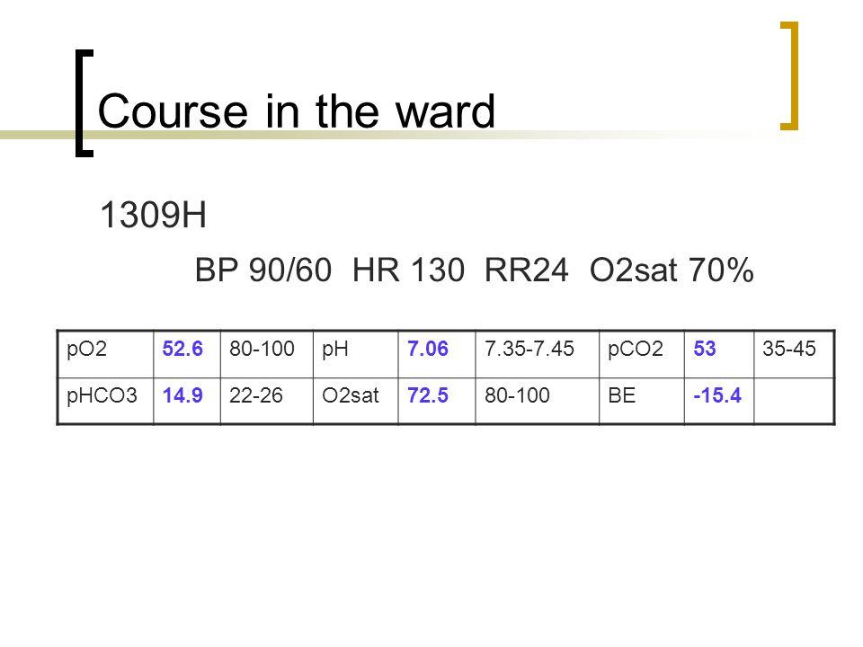 Course in the ward 1309H BP 90/60 HR 130 RR24 O2sat 70% pO252.680-100pH7.067.35-7.45pCO25335-45 pHCO314.922-26O2sat72.580-100BE-15.4