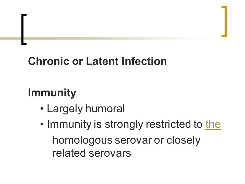 Chronic or Latent Infection Immunity Largely humoral Immunity is strongly restricted to thethe homologous serovar or closely related serovars
