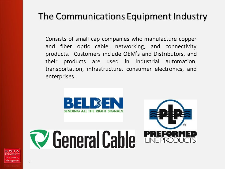 The Communications Equipment Industry Consists of small cap companies who manufacture copper and fiber optic cable, networking, and connectivity products.