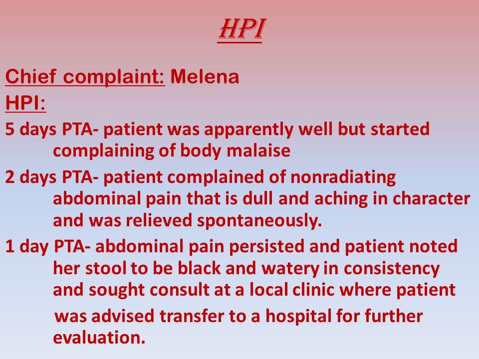Review of systems (-) wt loss (-) anorexia (-) fever (-) blurring of vision (-) decreased hearing (-) chest pain (-) chest tightness (-) headache, nausea, vomiting (-) urinary changes, dysuria, oliguria, hematuria, (-)hematochezia (-)polyuria, polydipsia, polyphagia