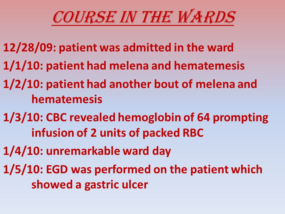 Course in the wards 1/6/10: patients BP was at 80/50, which was intractable with fluid challenge.