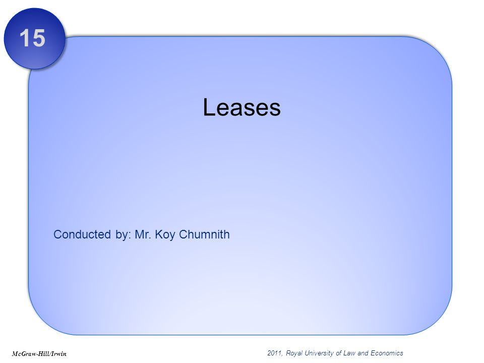 15 - 22 Sales-Type Leases: Lessee At inception of the Lease – January 1, 2011 CompDec Corp.