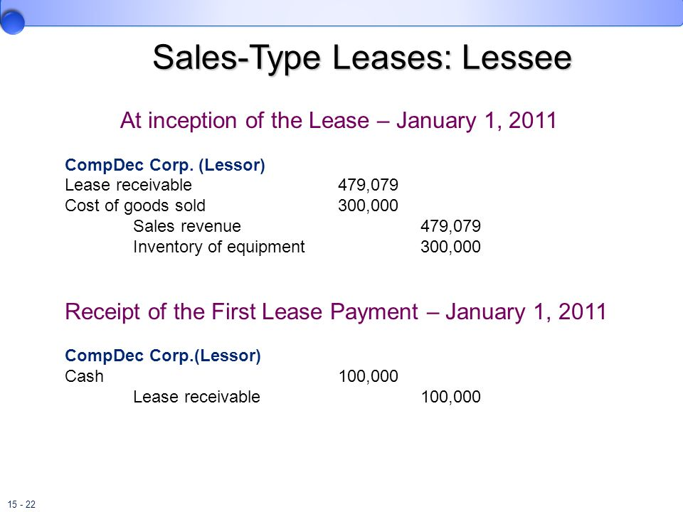 15 - 22 Sales-Type Leases: Lessee At inception of the Lease – January 1, 2011 CompDec Corp. (Lessor) Lease receivable479,079 Cost of goods sold300,000