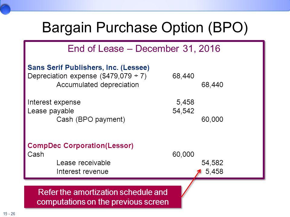 15 - 26 Bargain Purchase Option (BPO) End of Lease – December 31, 2016 Sans Serif Publishers, Inc. (Lessee) Depreciation expense ($479,079 ÷ 7)68,440