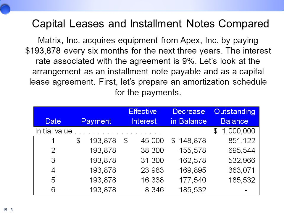 15 - 3 Capital Leases and Installment Notes Compared Matrix, Inc. acquires equipment from Apex, Inc. by paying $193,878 every six months for the next