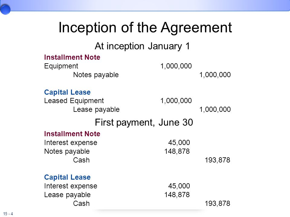 15 - 4 Inception of the Agreement At inception January 1 Installment Note Equipment1,000,000 Notes payable 1,000,000 Capital Lease Leased Equipment1,0