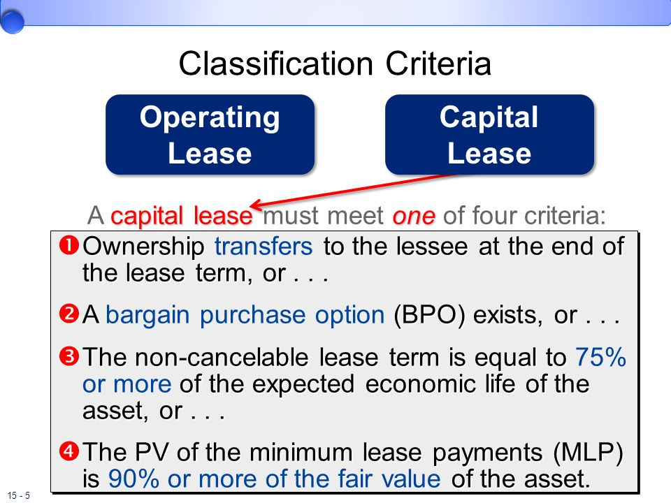15 - 5 Classification Criteria Ownership to the lessee at the end of the lease term, or... Ownership transfers to the lessee at the end of the lease t