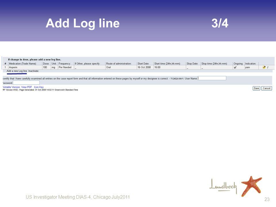 US Investigator Meeting DIAS-4, Chicago July2011 23 Add Log line3/4