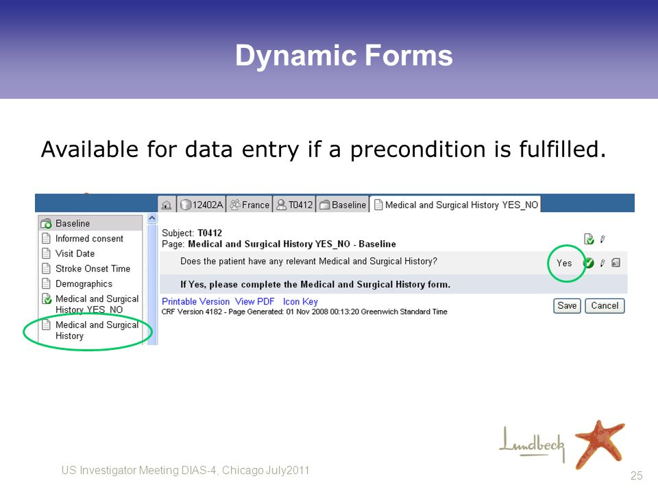 US Investigator Meeting DIAS-4, Chicago July2011 25 Dynamic Forms Available for data entry if a precondition is fulfilled.