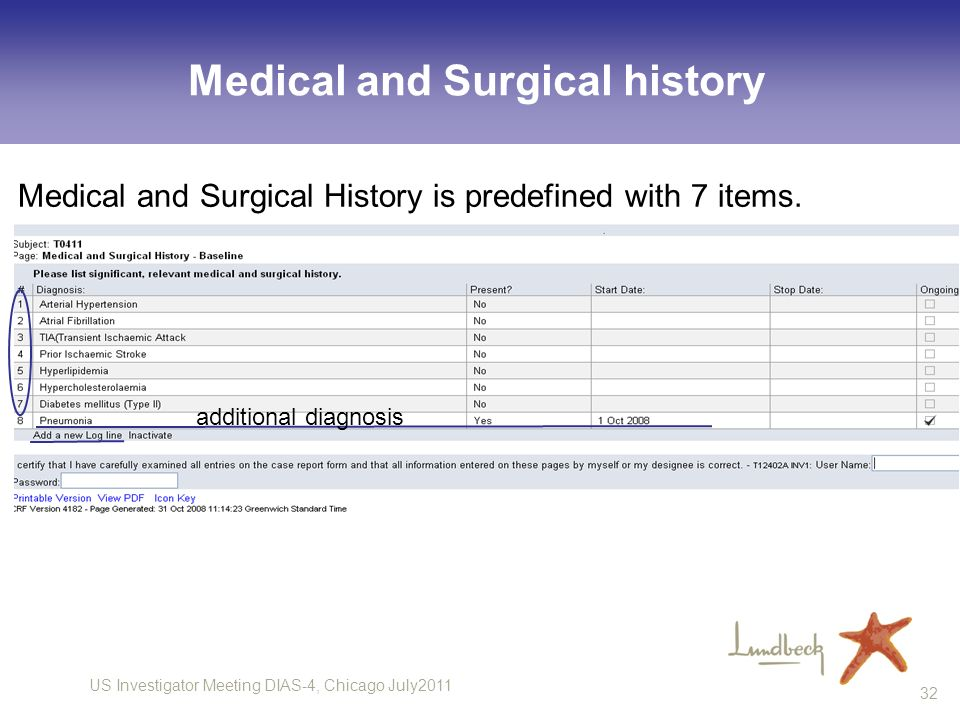 US Investigator Meeting DIAS-4, Chicago July2011 32 Medical and Surgical history Medical and Surgical History is predefined with 7 items. additional d