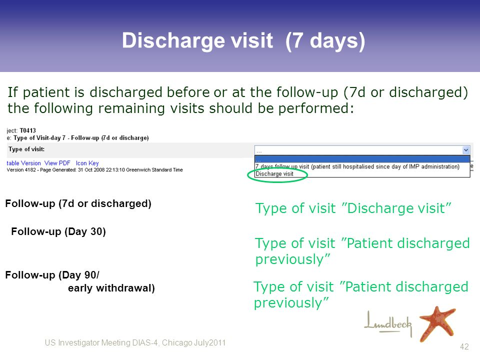 US Investigator Meeting DIAS-4, Chicago July2011 42 Discharge visit (7 days) Follow-up (7d or discharged) Follow-up (Day 30) Follow-up (Day 90/ early