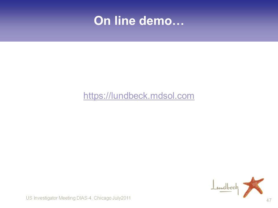 US Investigator Meeting DIAS-4, Chicago July2011 47 On line demo… https://lundbeck.mdsol.com