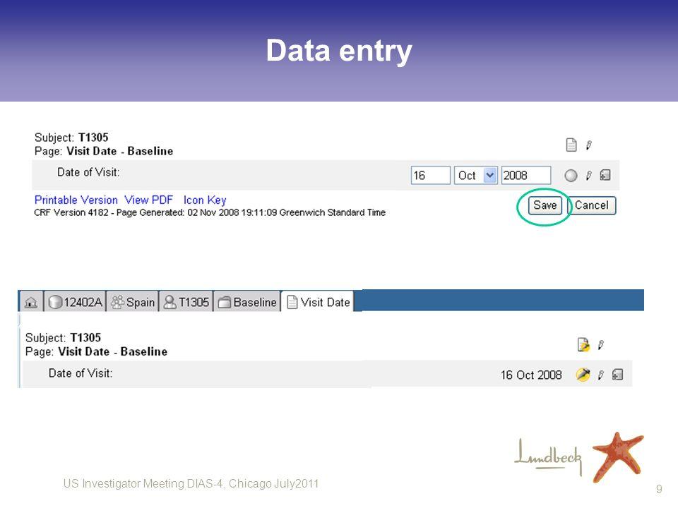 US Investigator Meeting DIAS-4, Chicago July2011 9 Data entry