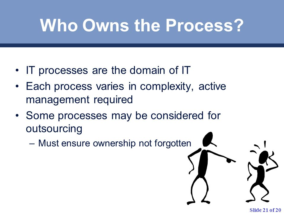Slide 21 of 20 Who Owns the Process.