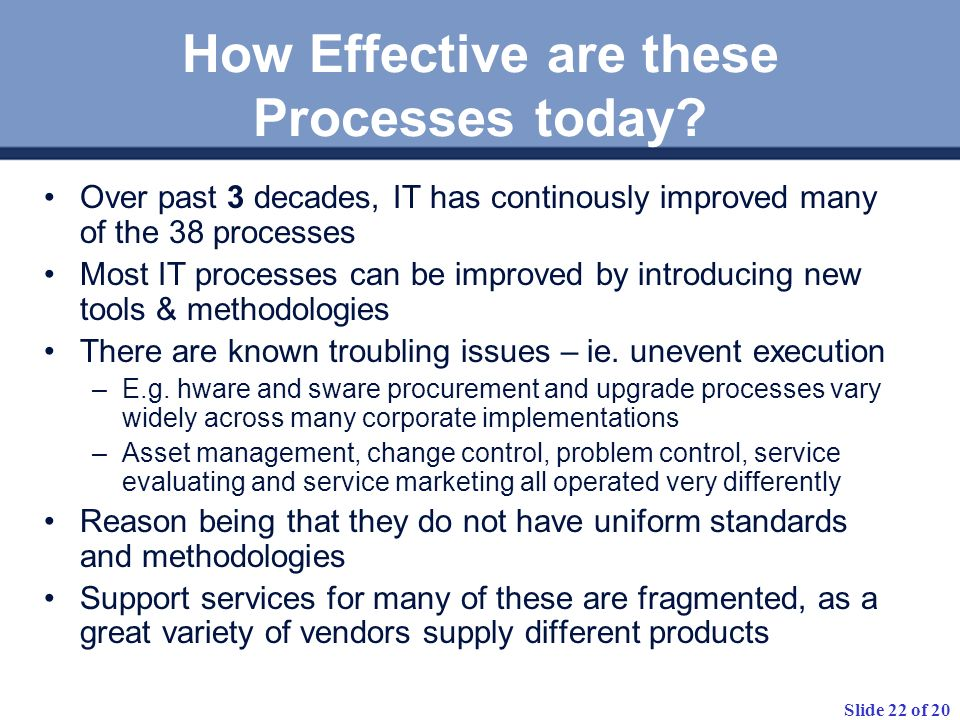 Slide 22 of 20 How Effective are these Processes today.