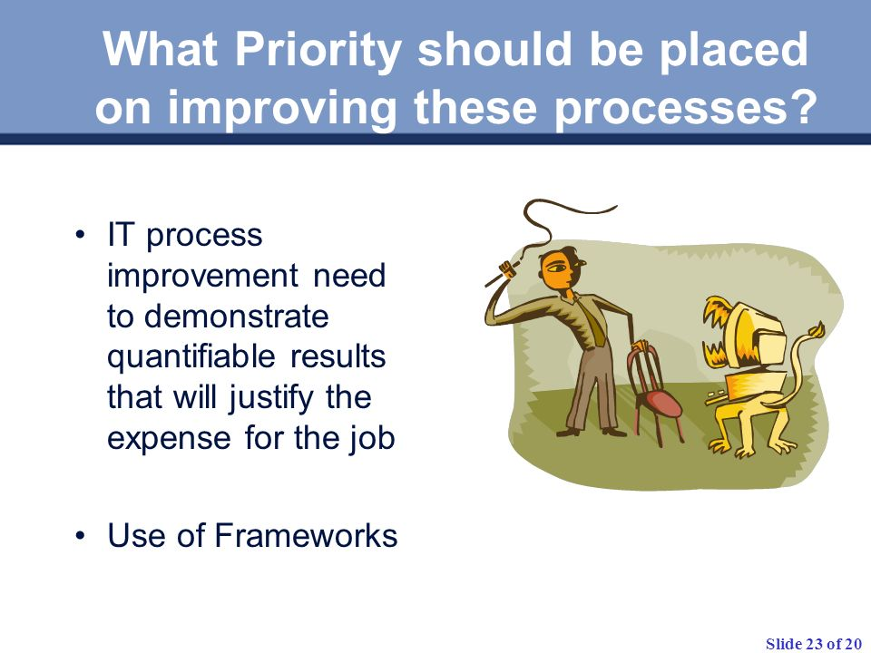 Slide 23 of 20 What Priority should be placed on improving these processes.