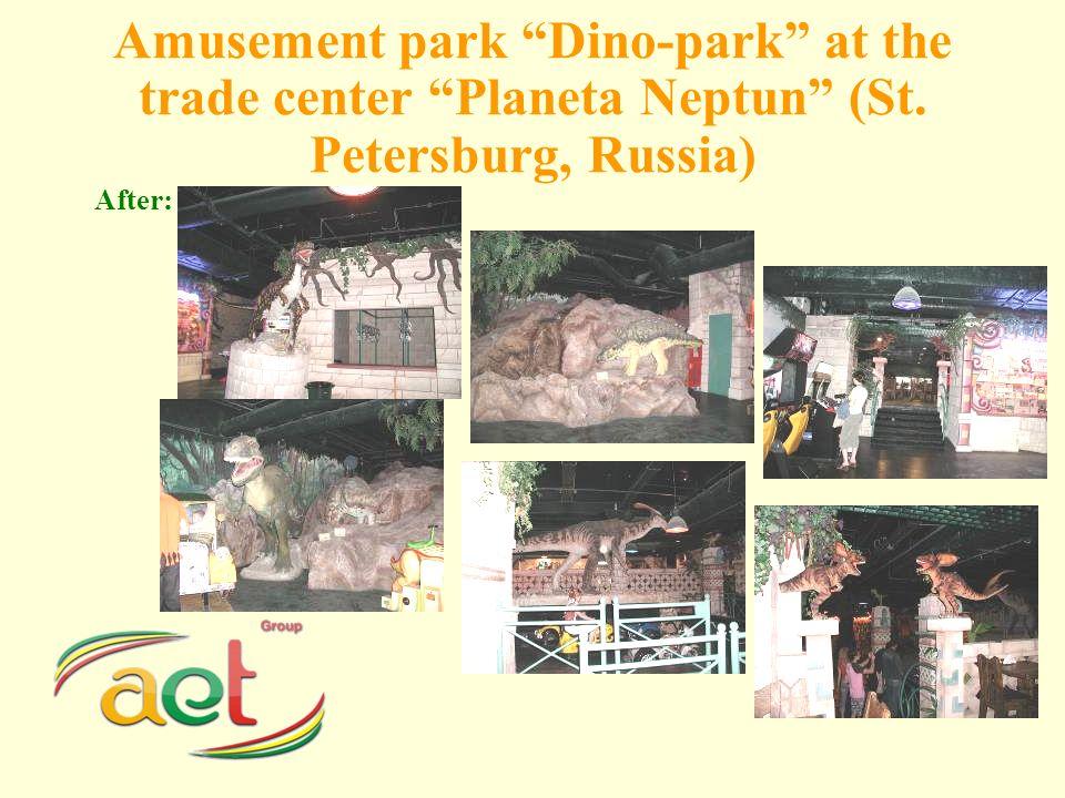 Amusement park Dino-park at the trade center Planeta Neptun (St. Petersburg, Russia) After: