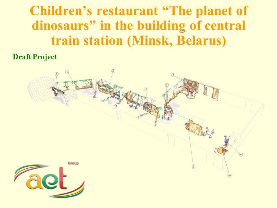 Childrens restaurant The planet of dinosaurs in the building of central train station (Minsk, Belarus) Draft Project
