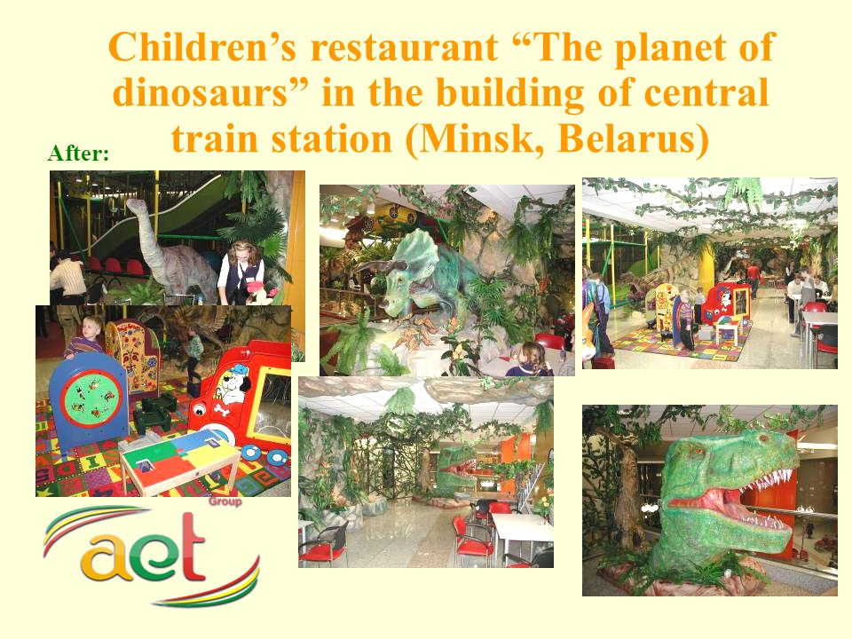 Childrens restaurant The planet of dinosaurs in the building of central train station (Minsk, Belarus) After: