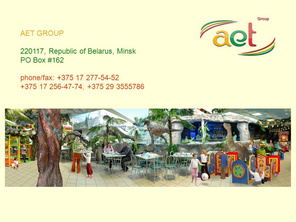 AET GROUP 220117, Republic of Belarus, Minsk PO Box #162 phone/fax: +375 17 277-54-52 +375 17 256-47-74, +375 29 3555786