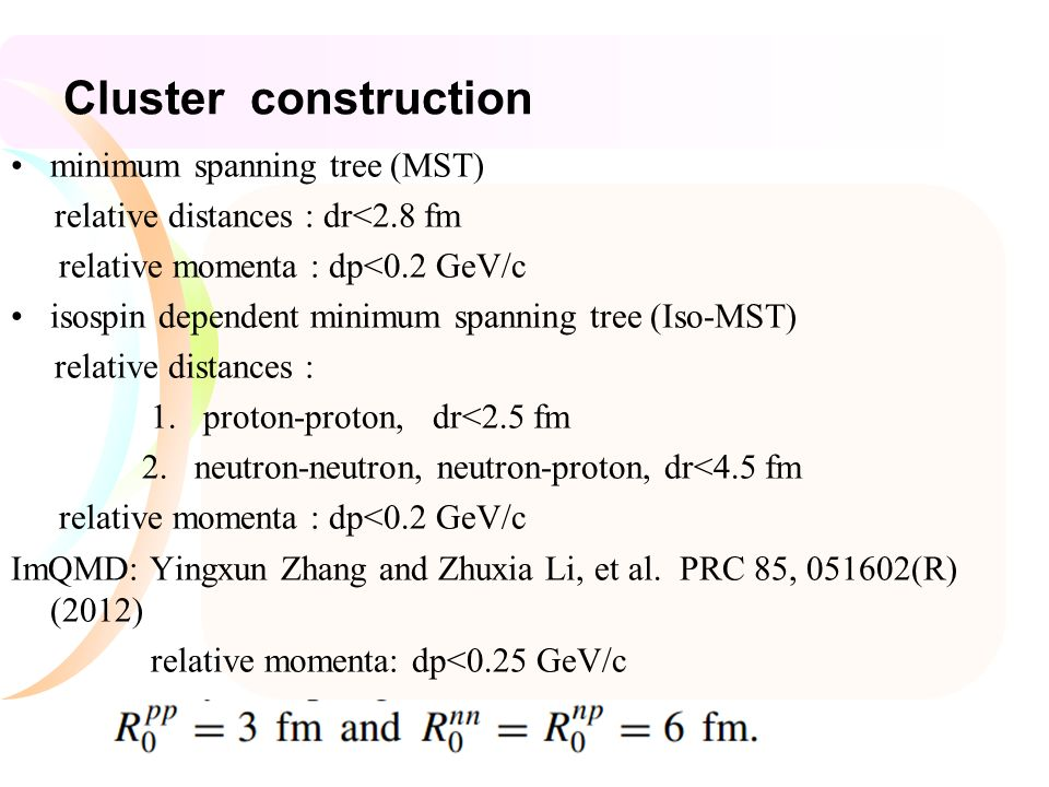 Cluster construction minimum spanning tree (MST) relative distances : dr<2.8 fm relative momenta : dp<0.2 GeV/c isospin dependent minimum spanning tree (Iso-MST) relative distances : 1.