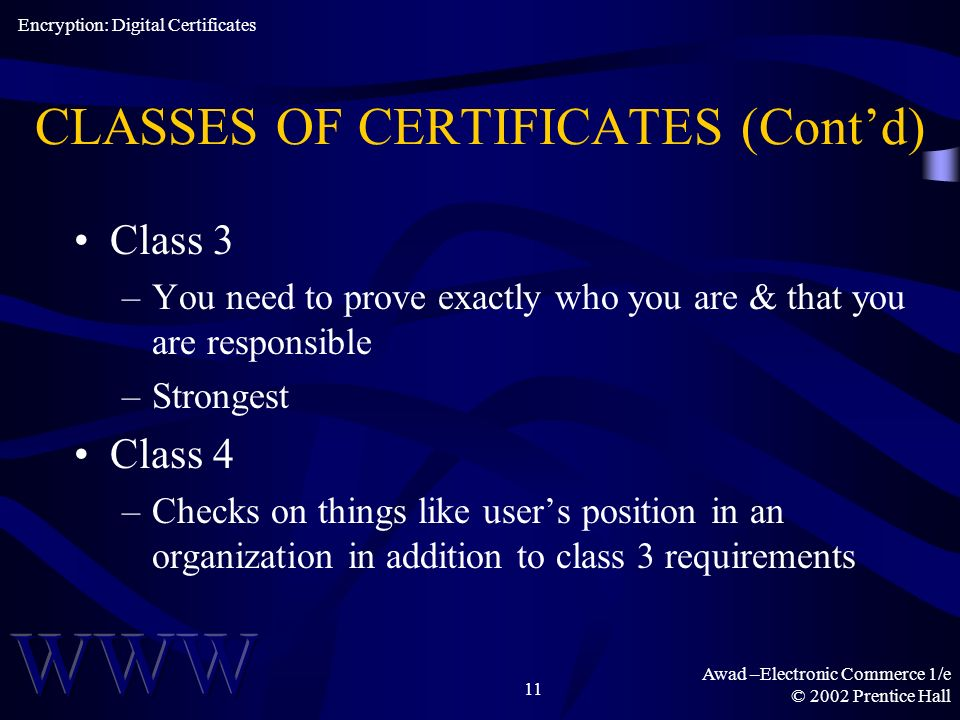 Awad –Electronic Commerce 1/e © 2002 Prentice Hall 11 CLASSES OF CERTIFICATES (Contd) Class 3 –You need to prove exactly who you are & that you are responsible –Strongest Class 4 –Checks on things like users position in an organization in addition to class 3 requirements Encryption: Digital Certificates