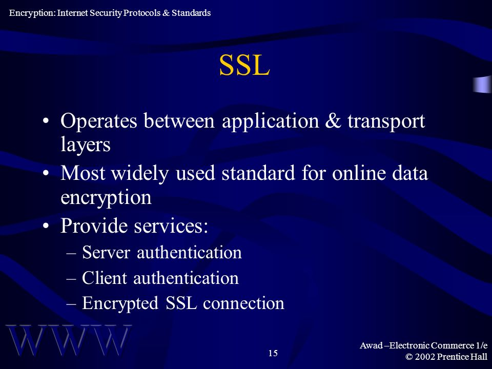 Awad –Electronic Commerce 1/e © 2002 Prentice Hall 15 SSL Operates between application & transport layers Most widely used standard for online data encryption Provide services: –Server authentication –Client authentication –Encrypted SSL connection Encryption: Internet Security Protocols & Standards