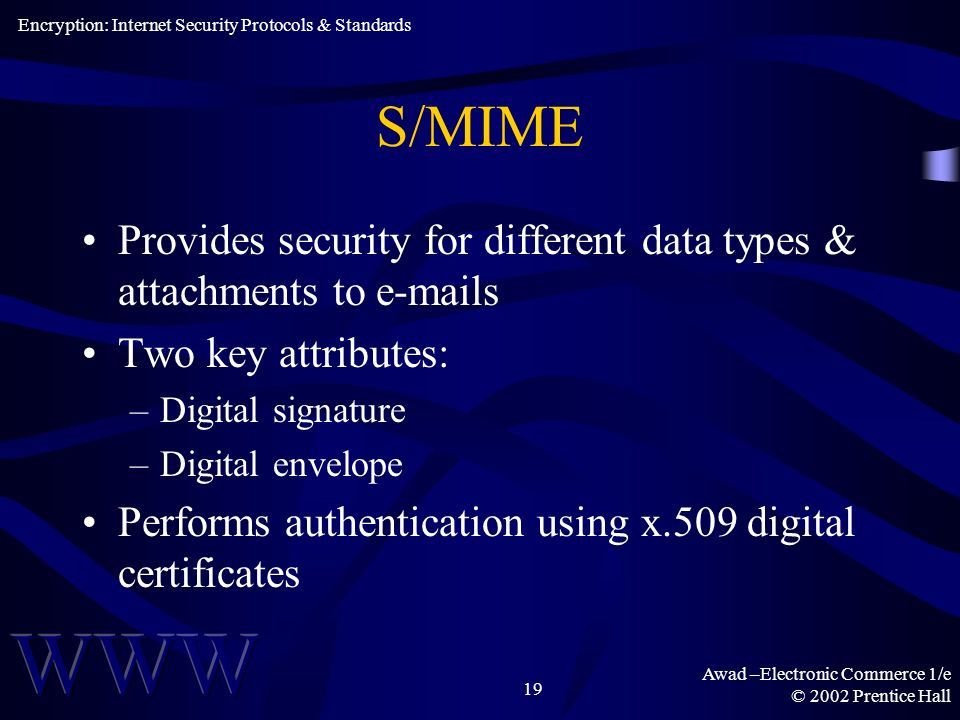 Awad –Electronic Commerce 1/e © 2002 Prentice Hall 19 S/MIME Provides security for different data types & attachments to e-mails Two key attributes: –Digital signature –Digital envelope Performs authentication using x.509 digital certificates Encryption: Internet Security Protocols & Standards