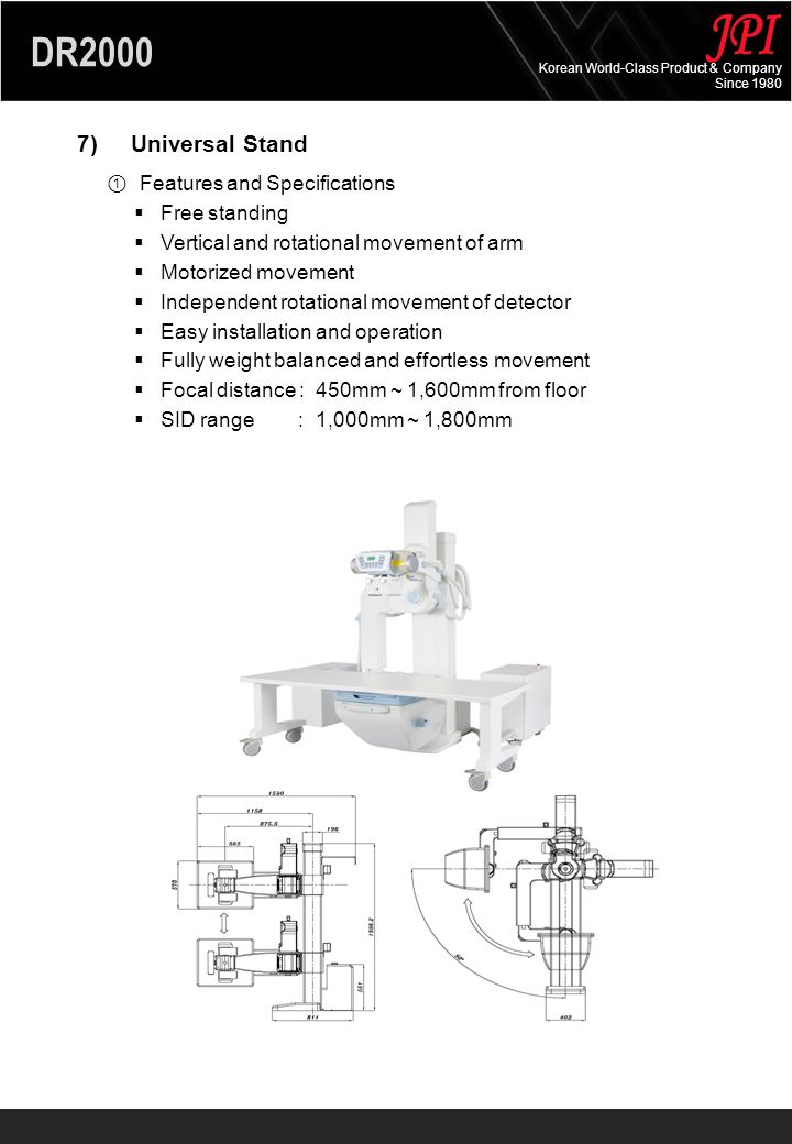 DR2000 Korean World-Class Product & Company Since 1980 DR2000DescriptionYesNo BASIC PACKAGE Detector (9M CCD) Workstation (with an image acquisition software) 20 LCD monitor Table, Stand (4-way) High voltage cable Collimator Console Generator 50kw, 630mA PC Table X-ray tube OPTIONS Detector (16M) Generator 65kw Anti-scattering Grid: 80lp/cm, 10:1 2.