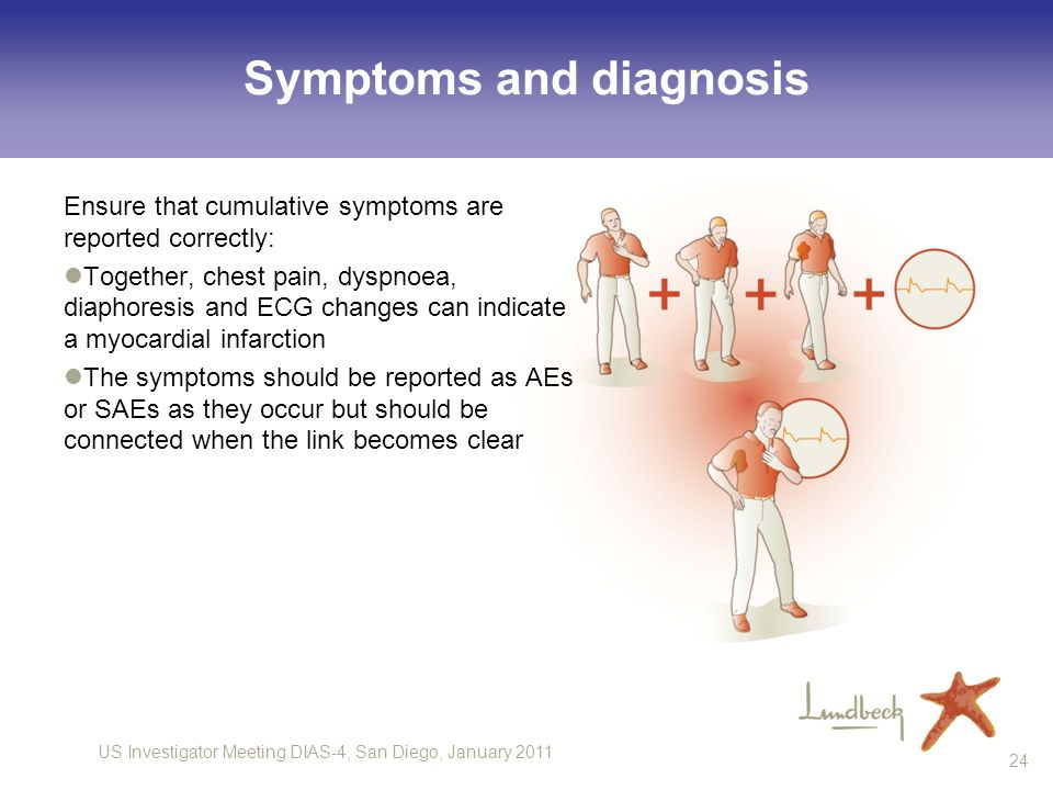 US Investigator Meeting DIAS-4, San Diego, January Symptoms and diagnosis Ensure that cumulative symptoms are reported correctly: Together, chest pain, dyspnoea, diaphoresis and ECG changes can indicate a myocardial infarction The symptoms should be reported as AEs or SAEs as they occur but should be connected when the link becomes clear