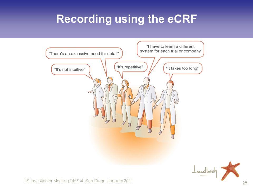 US Investigator Meeting DIAS-4, San Diego, January 2011 28 Recording using the eCRF